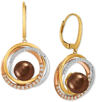 LeVian Le Vian Cultured Tahitian Brown Pearl (10mm) & Diamond (3/8 ct. t.w.) Drop Earrings in 14k Gold, White Gold & Rose Gold