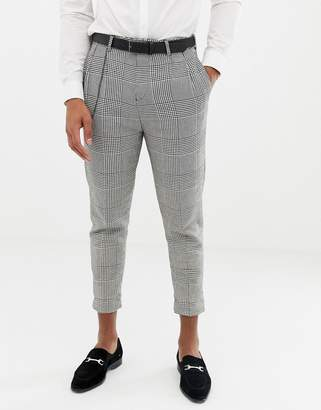 Twisted Tailor cropped tapered fit pants with pleat in check