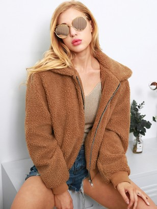 Shein Solid Collar Teddy Jacket