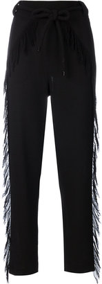 Veronique Leroy belted fringe trim trousers