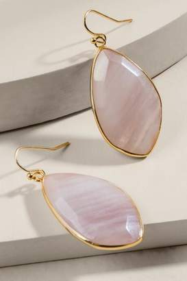 francesca's Rachel Rose Quartz Stone Drop Earrings - Pale Pink