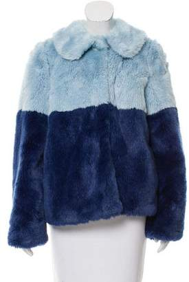 Alice + Olivia Colorblock Faux Fur Coat