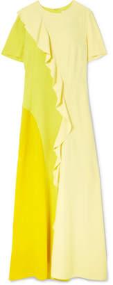 Goen J Color-block Ruffled Chiffon And Crepe De Chine Maxi Dress