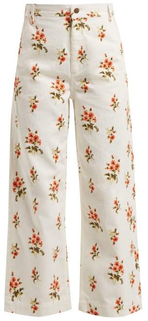 MiH Jeans Lake Floral Print Corduroy Trousers - Womens - White Print