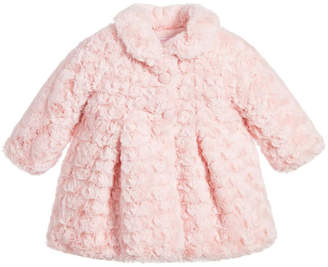 Mayoral Pink Rosette Fur Coat