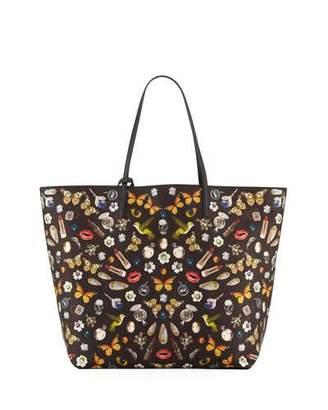 Alexander McQueen Skull Multi-Print Open Leather Shopper Tote Bag, Black/Multi $1,245 thestylecure.com
