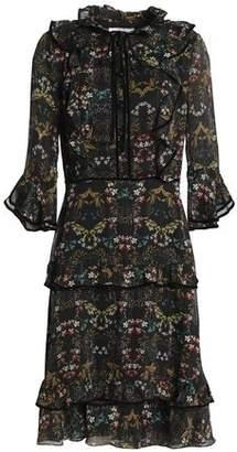 Mikael Aghal Ruffled Metallic Floral-Print Georgette Dress