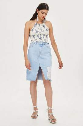 Topshop Ripped midi skirt