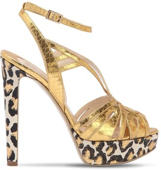 Ernesto Esposito 120mm Leopard Metallic Leather Sandals