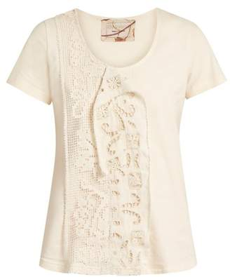 By walid By Walid - Jodie Lace Insert Cotton T Shirt - Womens - Nude