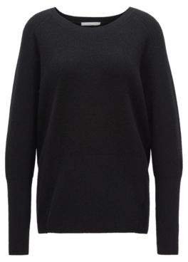 BOSS Hugo Relaxed-fit sweater in mixed wool rear tie L Black