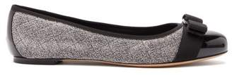 Salvatore Ferragamo Vara Quilted Metallic Boucle Ballet Flats - Womens - Black Silver