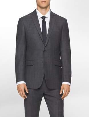 Calvin Klein body slim fit charcoal plaid suit jacket