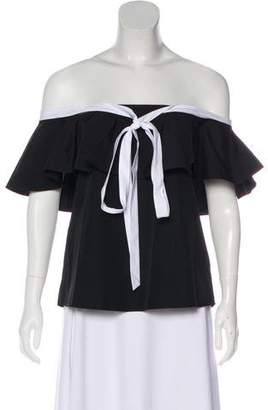 Alice + Olivia Off-The-Shoulder Short Sleeve Top