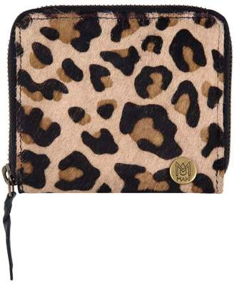 Mahi Leather Classic Ladies Coin Purse In Leopard Print Pony Hair Leather