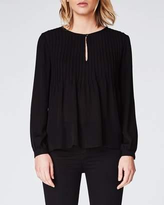 Nicole Miller Solid Silk Pleated Long Sleeve Top