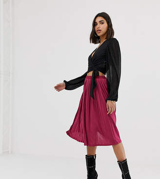 Missguided exclusive pleated midi skirt in raspberry