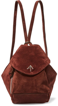 Manu Atelier - Fernweh Mini Suede Backpack - Burgundy $520 thestylecure.com