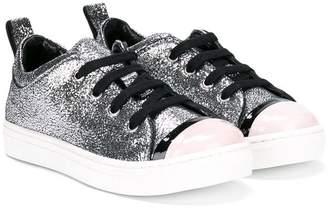 Lanvin Enfant glitter lace-up sneakers