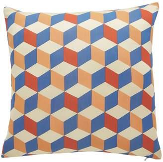 Blend of America QUADRA Multi-colou printed silk cushion 50x50cm