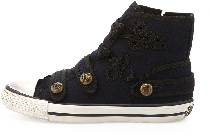 Ash Victory Flannel Hi-Top Sneakers, Midnight