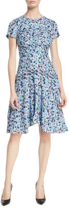 Jason Wu Short-Sleeve Ruched Floral-Print Silk Georgette Day Dress