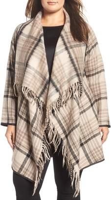 Tart Sage Plaid Drape Front Coat