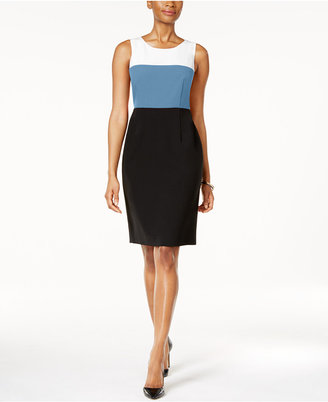 Kasper Colorblocked Sheath Dress $89 thestylecure.com