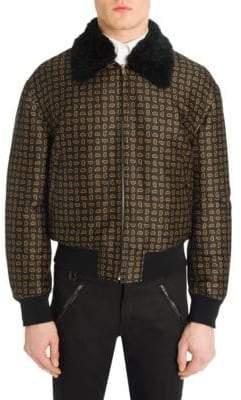 Alexander McQueen Shearling Collar Paisley Bomber Jacket