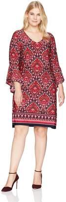 Tiana B Women's Plus Size V-Neck Border Print Jersey Dress