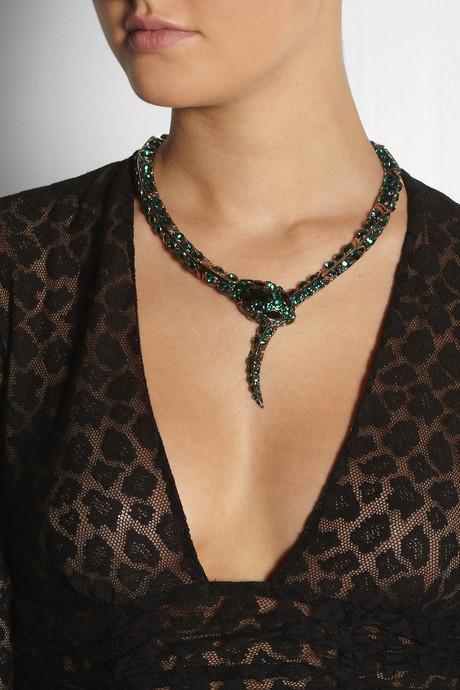 Roberto Cavalli Blackened brass Swarovski crystal snake necklace