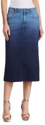 Oscar de la Renta Ombre Denim Pencil Skirt
