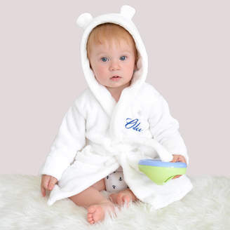 Fleece Baby DCaro Personalised White Robe With Ears