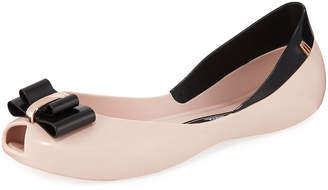 PeepToe Melissa Shoes Queen V Peep-Toe Jelly Flats