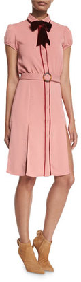 Alice + Olivia Carie Bow-Neck Belted Shirtdress $395 thestylecure.com