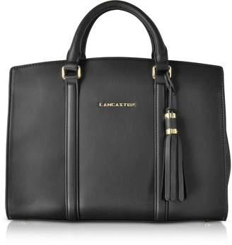 A.N.A Lancaster Paris Mademoiselle Black Leather Large Satchel Bag