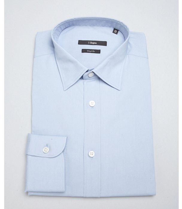 Z Zegna light blue stretch cotton spread collar dress shirt