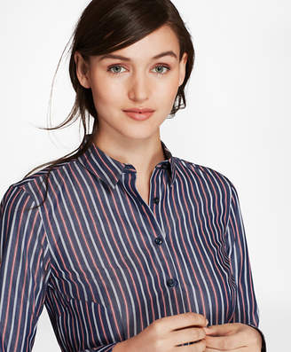 Brooks Brothers Tailored-Fit Striped Cotton Poplin Shirt