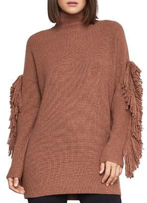 BCBGMAXAZRIA Fringe-Sleeve Turtleneck Sweater