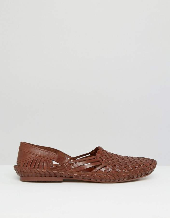 Asos Woven Sandals In Leather