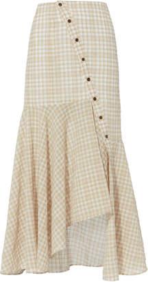 Adeam Gingham Asymmetrical Midi Skirt