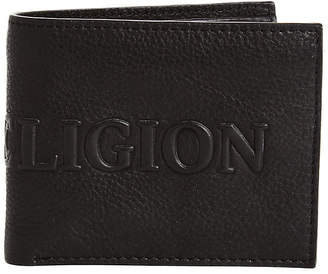 True Religion EMBOSSED LEATHER UTILITY BIFOLD WALLET