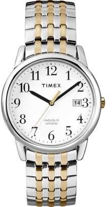 Timex Unisex Easy Reader 36mm Two Tone Steel Bracelet Steel Case Quartz White Dial Analog Watch T2P295