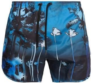 Neil Barrett Palm Print Swim Shorts - Mens - Blue