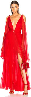 Dundas Draped Waist Plunging Gown
