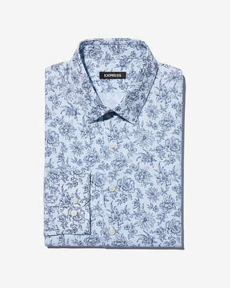 Express Slim Floral Check Dress Shirt
