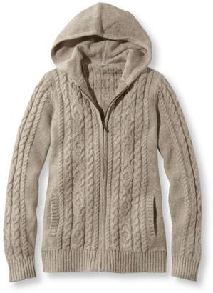 L.L. Bean L.L.Bean Double L Mixed-Cable Sweater, Zip-Front Hoodie Marled