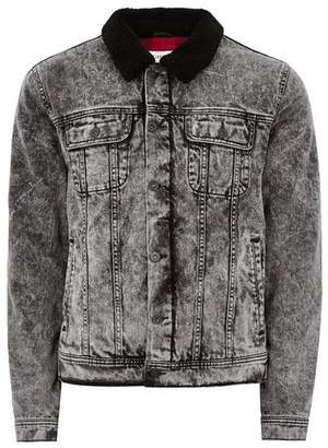 Topman Mens Black Acid Wash Borg Collar Denim Jacket