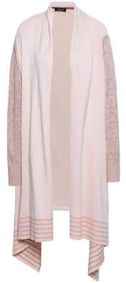 DKNY Paneled Metallic Pointelle-knit And Knitted Cardigan