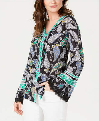 Style&Co. Style & Co Printed Flare-Sleeve Top